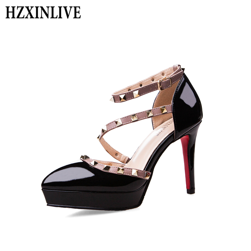 HZXINLIVE High Heels Women Shoes Elegant Pumps Ladies Shoes Thin Heels Rivet Women's Sandals Platform Luxury Party Wedding Shoes winter fur hooded warm jackets for girls padded coats thicken pu leather patchwork fox faux fur collar jacket outerwear w57