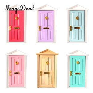 MagiDeal 1/12 Scale Dolls House Miniature Wooden Steepletop 4 Panel Door with Hardware for Children DIY Furniture Toy 6Colors(China)