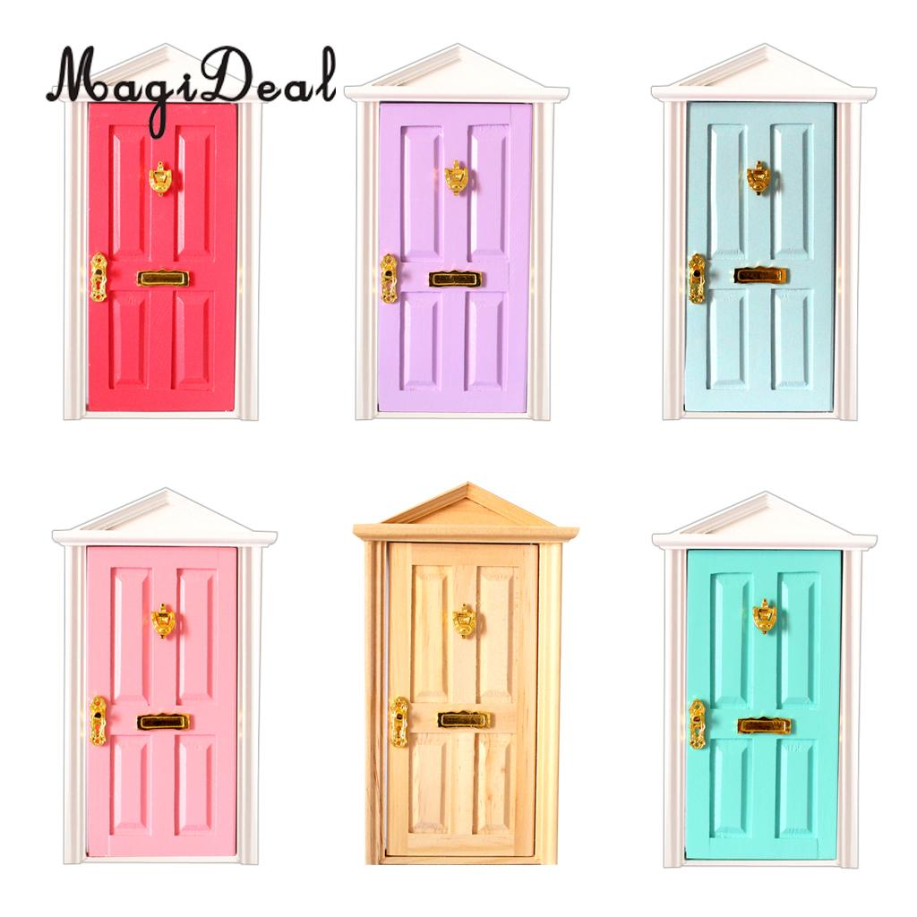 MagiDeal 1/12 Scale Dolls House Miniature Wooden Steepletop 4 Panel Door with Hardware for Children DIY Furniture Toy 6Colors