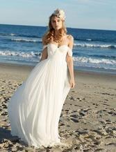 SoDigne Beach Wedding dress Off The Shoulder Wedding Gown Chiffon White / Ivory Backless Beach Bride Dresses 2019 цена и фото