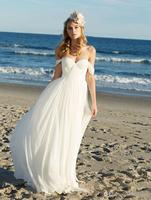 SoDigne Beach Wedding dress Off The Shoulder Wedding Gown Chiffon White / Ivory Backless Beach Bride Dresses 2019