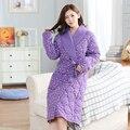 10Pcs/lotNew brand women pajamas winter robe cotton knited bathrobe plus size XXXL thick long robe female homewear free shipping