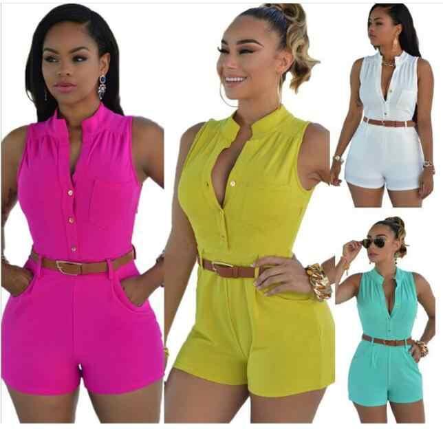 S-2XL Vrouwen Meisjes Sexy Off Schouder Knop Decoratie Taille Belted Jumpsuit Vrouw Playsuit 11 Kleur Optionele Plus Maten Xxl