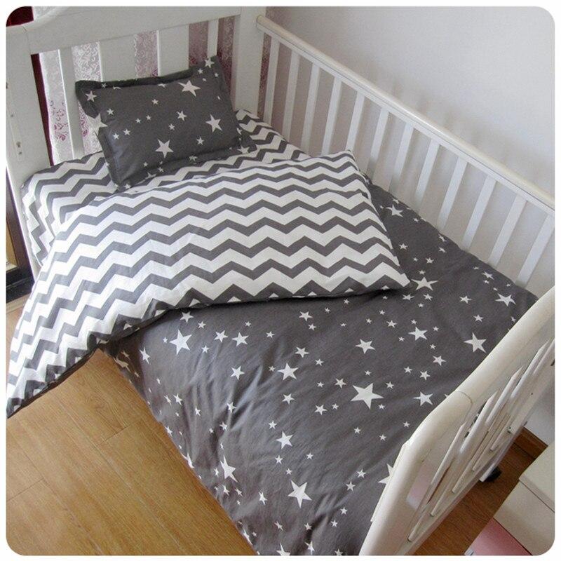 3Pcs Baby Bedding Set Cotton Crib Sets Black White Stripe Cross Pattern Baby Cot Set Including Duvet Cover Pillowcase Flat Sheet stylish stripe pattern chiffon beach sarong white black