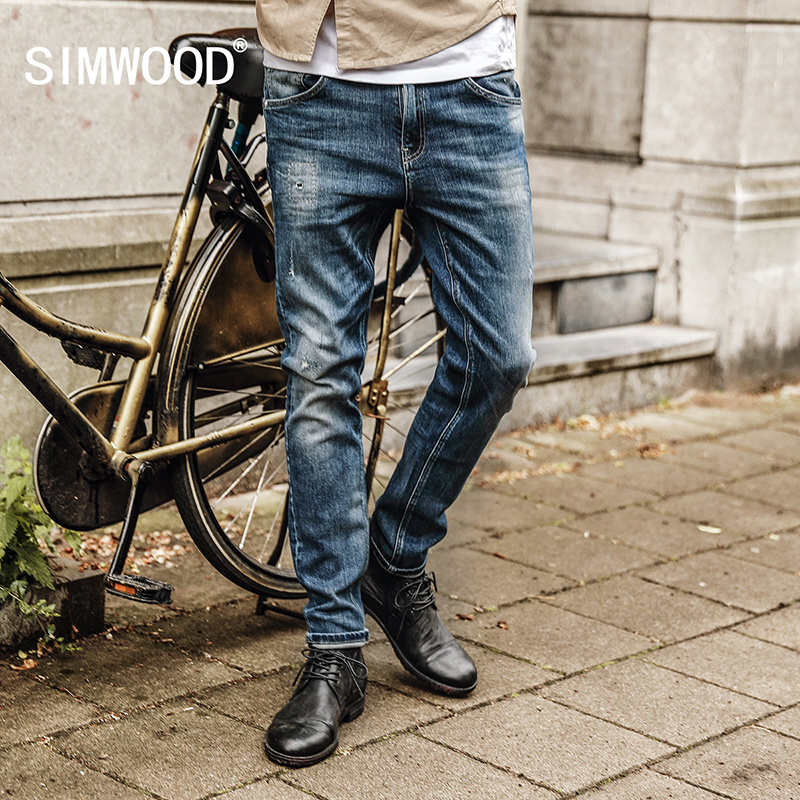 SIMWOOD 2017 Men Brand Jeans Fashion Casual Male Denim Pants Trousers Cotton Classic Straight Jeans NC017037 men s jeans men male pants 2017 new men s cotton denim trousers vmc brand men s mid waist straight fashion casual pants