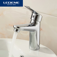 LEDEME Basin Faucet 1 Set Brass Boby Bathroom Basin Faucet Vessel Sink Water Tap Cold An