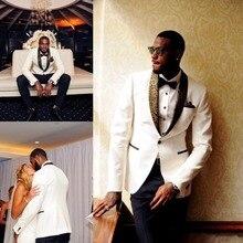 Handsome White Black Men Wedding Suits Slim Fit Bridegroom Jacket Pants Tuxedos