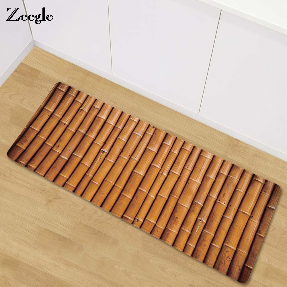 Anti Slip Mat Slaapkamer Zeegle Bamboo Painting Welcome Doormat Long Floor Mats Kitchen Carpet Bedroom Bedside Mats Anti Slip Carpets For Living Room