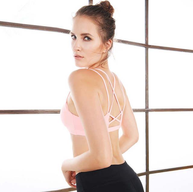 5577f891b2 Online Shop Sexy Backless Sports Bra Top Fitness Bras Gym Women Strappy Brassiere  Sport Top Vest Padded Yoga Bras Push up Running Underwear