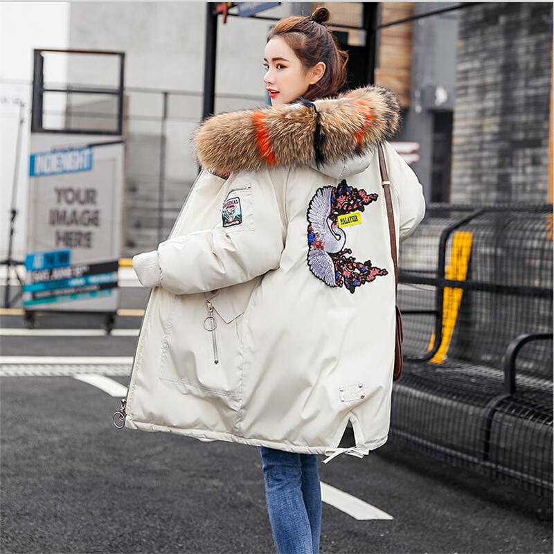 2019 Women Winter Warm Long Jacket Female Thickening Big Size Hooded   Parkas   Coat Womens Outwear Fur Collar Coat