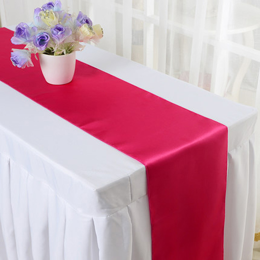 Hot 20pcs lot Wedding Party Decoration 30 275cm Satin Table Runner For Hotel Banquet Blue Pink
