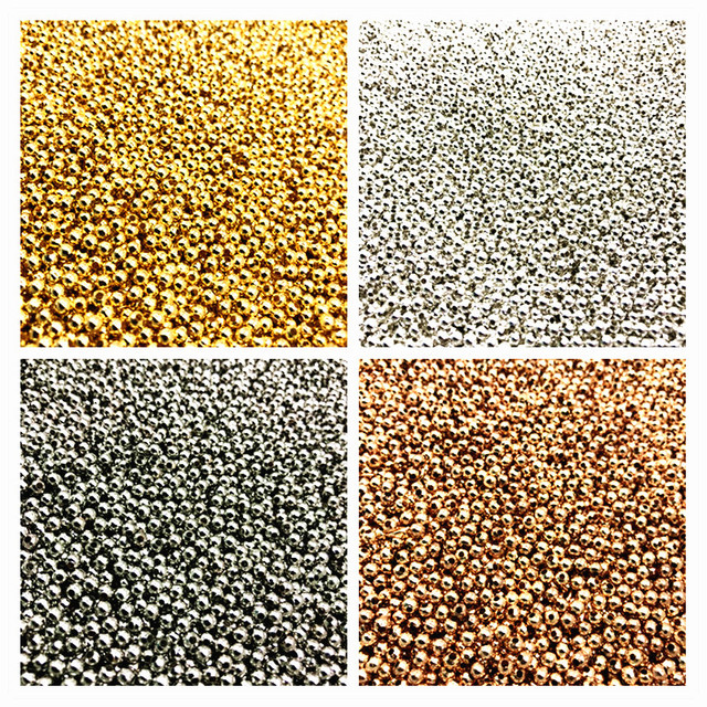 500/200/50pcs 2/4/6mm Gold/Silver/Bronze Tone Metal Beads Smooth Ball Spacer Beads For Jewelry Making
