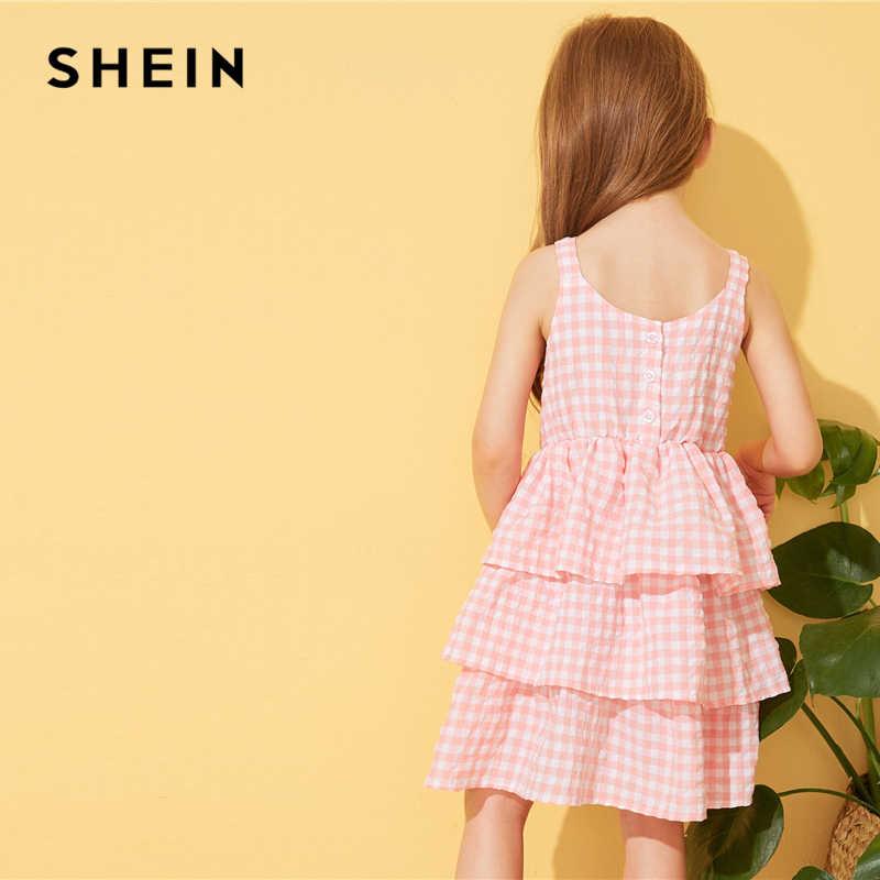 SHEIN/милое многослойное платье для маленьких девочек с клетчатым узором; коллекция 2019 года; летние короткие платья с высокой талией и оборками без рукавов