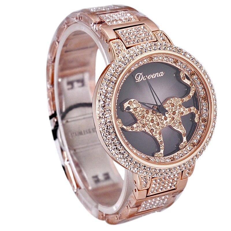 Femmes de luxe Bling strass filature léopard montres femmes mode à la mode montre à Quartz or Rose argent dames horloge cadeau - 2