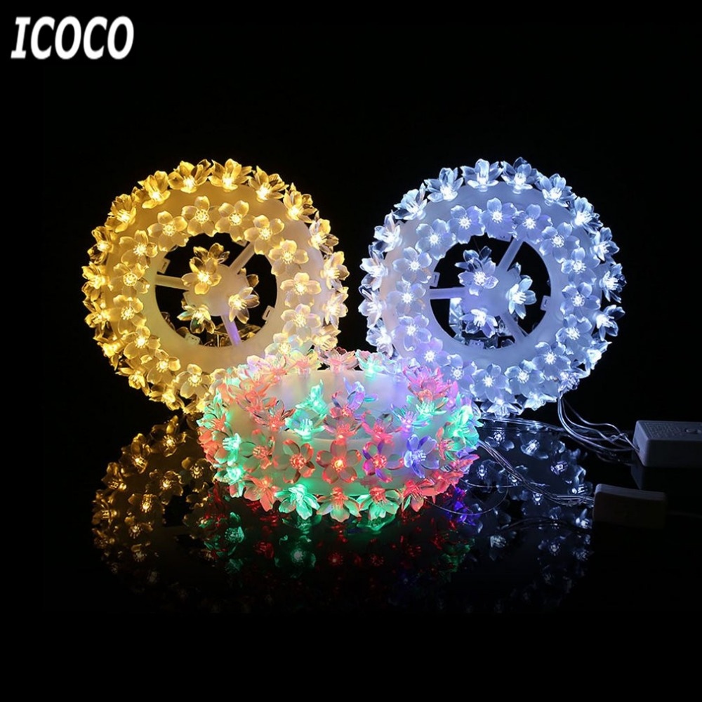 ICOCO EU Plug 220V LED Modelling Sculpt Light Round Shape Indoor Festival Decoration 87 Plum Blossoms Wintersweets Lamp