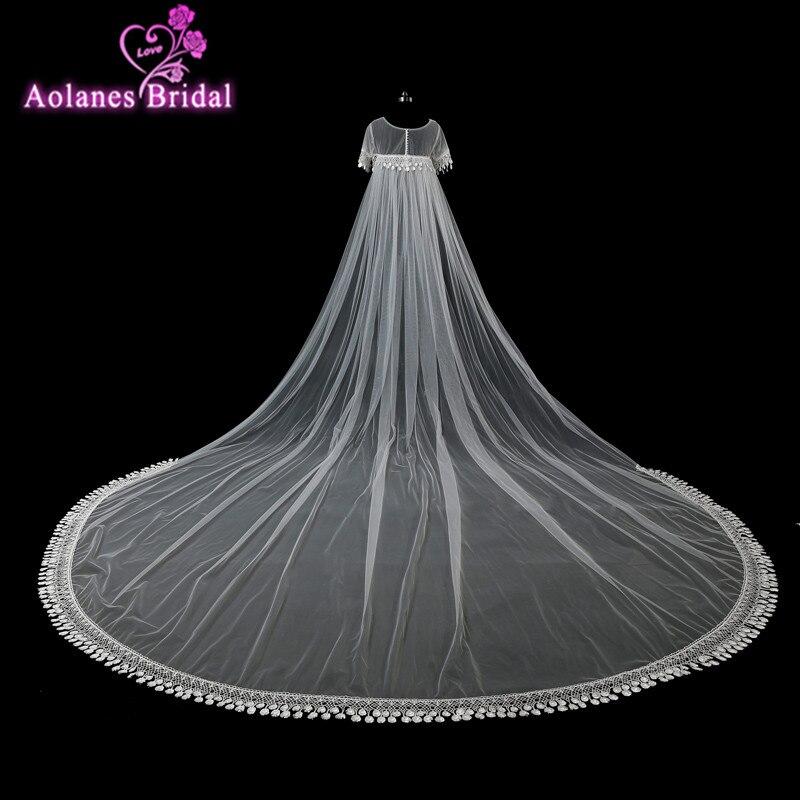 Cape de mariage en dentelle blanche ivoire Cape longue manteau veste de mariage châle enveloppes longueur de plancher veste de mariée superposition pour robe de mariée