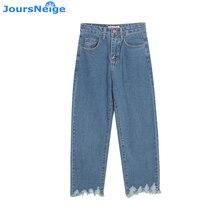 Высокая Талия Джинсы для женщин Для женщин Винтаж Кисточкой Свободные синие джинсы Мотобрюки Для женщин S Джинсы для женщин широкие лодыжки Длина Femme Брюки для девочек