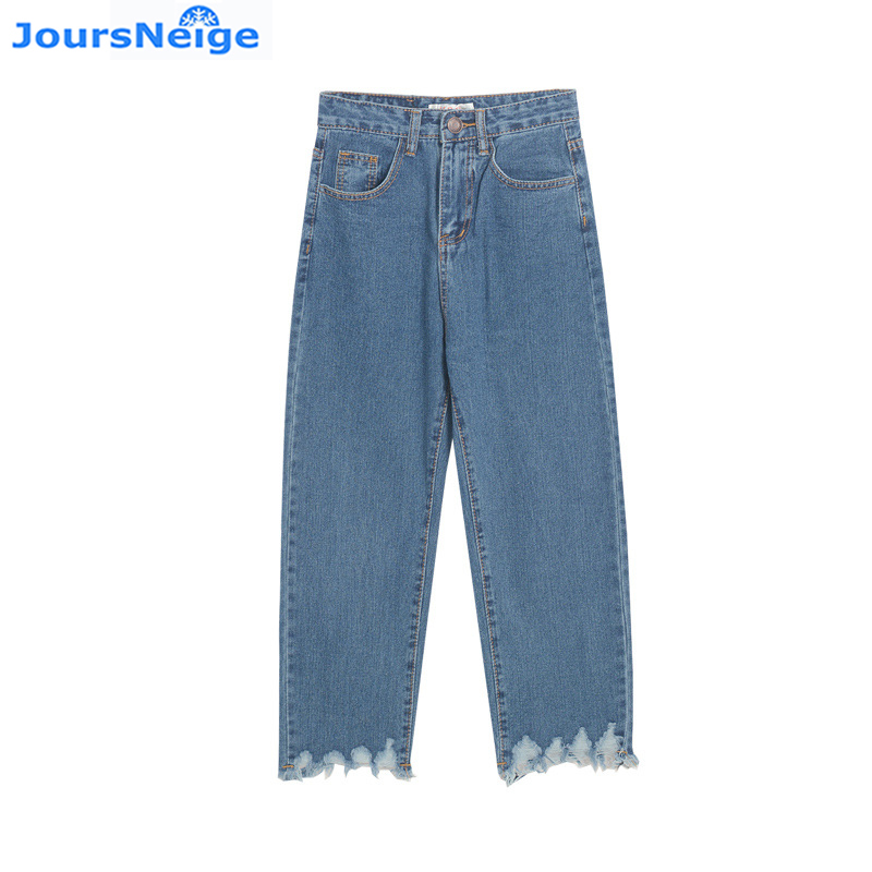 High Waist Jeans Women Vintage Tassel Loose Blue Denim Trousers Womens Jeans Wide Leg Ankle-Length Femme Pants plus size side stripe wide leg blue capris jeans 4xl 7xl oversized tassel irregular fringe ankle length denim pants