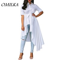 OMILKA 2017 Autumn Women Short Sleeve Turn Down Collar Hi Low Shirt Dress Casual White Plus