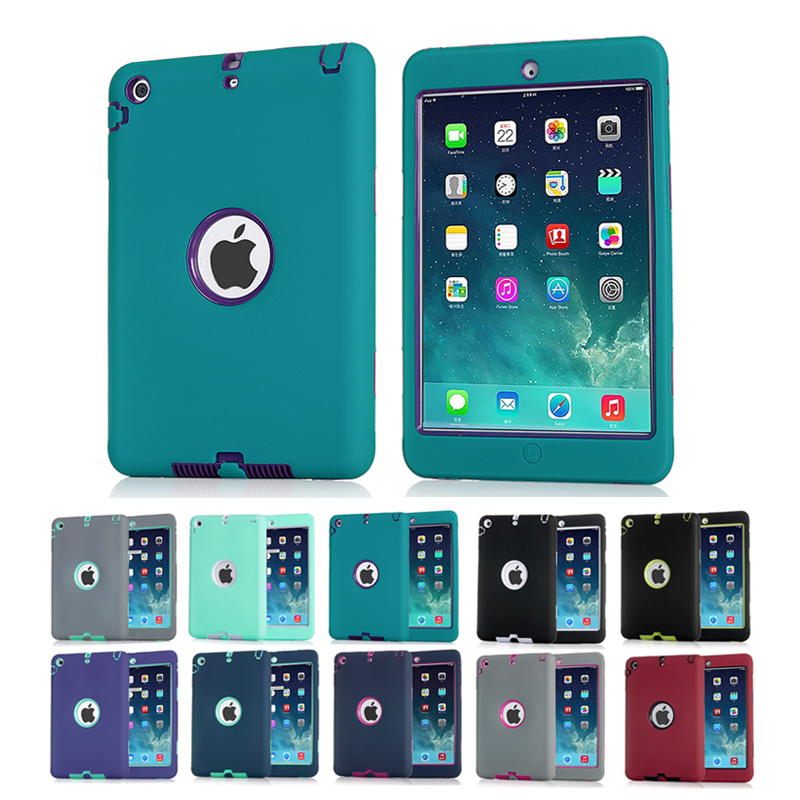 Shockproof Silicone Case for iPad mini 1/2/3 Kids Safe Armor Heavy Duty Rubber Hard Back Cover Screen Protector Film+Stylus Pen heavy duty shockproof protective hard case kids safe luxury stand silicone rubber armor back cover for ipad air 2 qjy99
