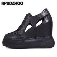 Криперы обувь на платформе с круглым носком сетки знаменитости Скрытая Для женщин Размер 4 34 черный клин бренд туфли лодочки из натуральной