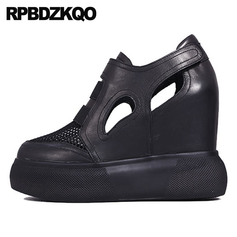 Creepers Round Toe Platform Shoes Mesh Celebrity Hidden Women Size 4 34 Black Wedge Brand Genuine Leather Pumps High Heels 2018 alfani new black women s size small s mesh back high low ribbed blouse $59 259