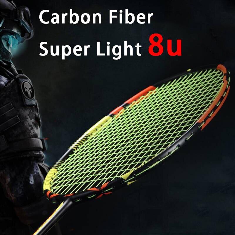 Ultralight Strung 8U 65±5g Full Carbon Badminton Racket Professional Multicolor Strings Bags Padel Rackets Sports Raquetas