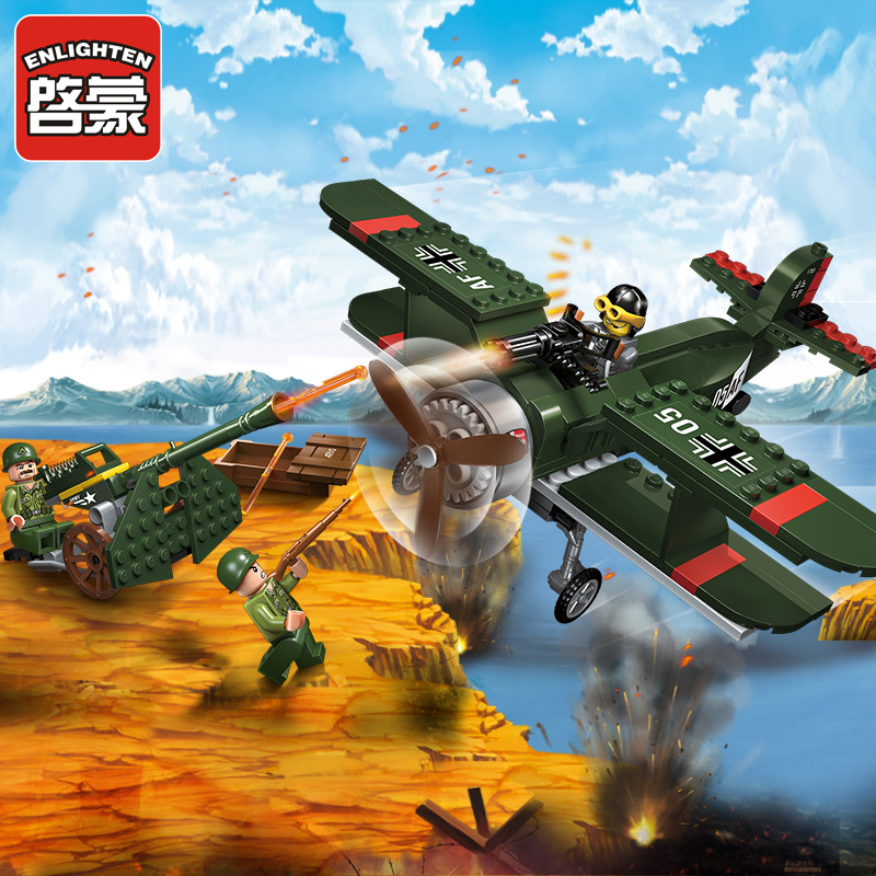 Enlighten 1705 Military Series Fighter Battleplane Mini Figures Building Block Bricks Compatible With Lepin Toys For Kids Gifts