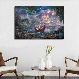 Томас Кинкейд длинные волосы принцесса стены искусства холст постер и печать холст живопись декоративная картина офис спальня домашний де...