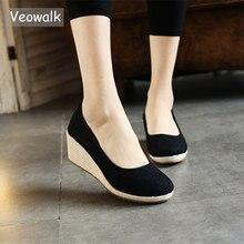 Veowalk Handmade kobiety zwykły bawełna lniana Wedge espadryle Vintage Solid Color damskie buty na wysokim obcasie Slip on platformy pompy buty
