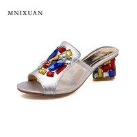 2017 nuova estate sandali peep toe donne di lusso muli scarpe di spessore tacchi alti pantofole slides casuali big size 40 41-43 Oro argenteo