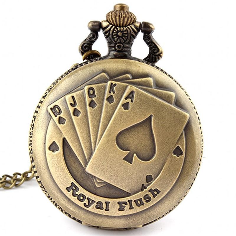 Royal Flush Poker Card Quartz Pocket Watch  Retro Necklace Pendant Chain Spades A King K Engrave Men Male Boys Bronze Clock Gift