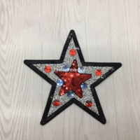 Large Sequin Appliques Star Embroidery Clothes Stickers Sew On Patches DIY Dance Clothing Accessories