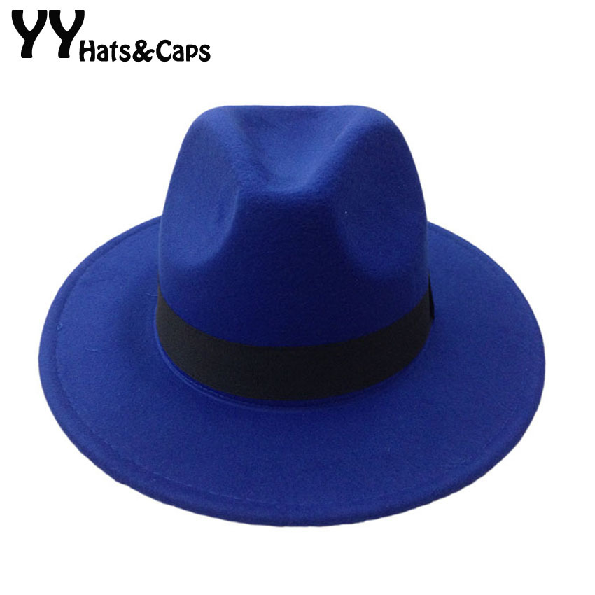 Men's Wool Felt Snap Brim Hat Trilby Women Vintage Wool Panama Fedora Cloche Cap Wool Felt Jazz Hats 14 colors YY0397(China)