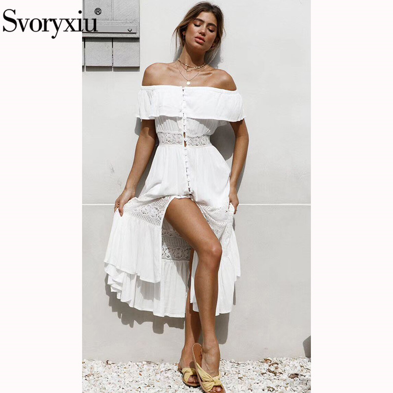 Svoryxiu Designer Brand Summer White Long Dress Women s Elegant Lace Hollow Out Holiday Party Sexy