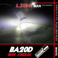 2x 80W 3900LM Set 12 24V BA20D Motor Bike Moped Scooter ATV Headlight Bulb High Power