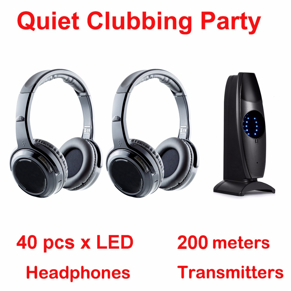 Silent Disco complete system black led wireless headphones - Quiet Clubbing Party Bundle (40 Headphones + 1 Transmitter) silent disco complete system black led wireless headphones quiet clubbing party bundle 30 headphones 3 transmitters