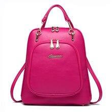 Повседневное Многофункциональный Дамские туфли из PU искусственной кожи рюкзак Мода женская сумка тенденция школьный рюкзак черный Высокое качество