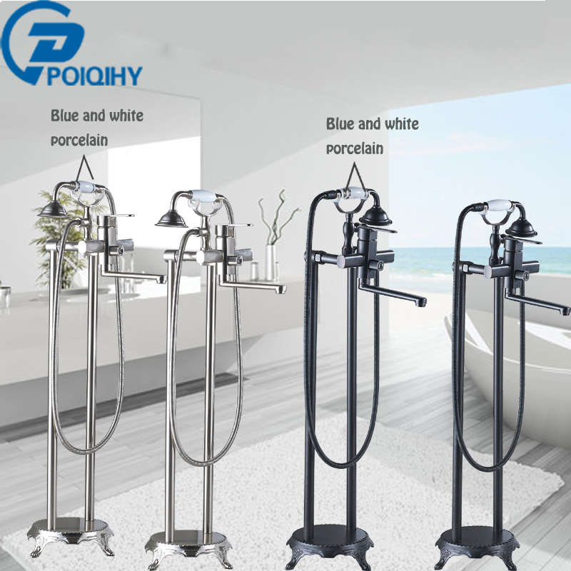 Bathtub FaucetFloor Stand Faucets Shower Free Standing Brass Floor Tub Mixer W/Hand Spray Black & Brushed Nickel
