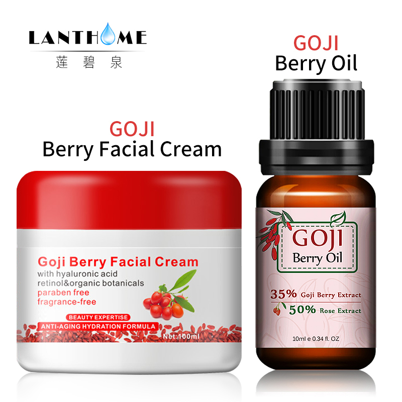 2pcs New Goji berry facial cream+ASS Hyaluronic Acid Goji Berry Essentian Oil Rose Flavor Chinese Wolf berry anti-wrinkle cream стоимость