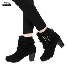 eb5ed5e4 YOUYEDIAN mujer Casual hebilla Correa zapatos Martain botas Suede tobillo  botas de tacón alto scarpe donna