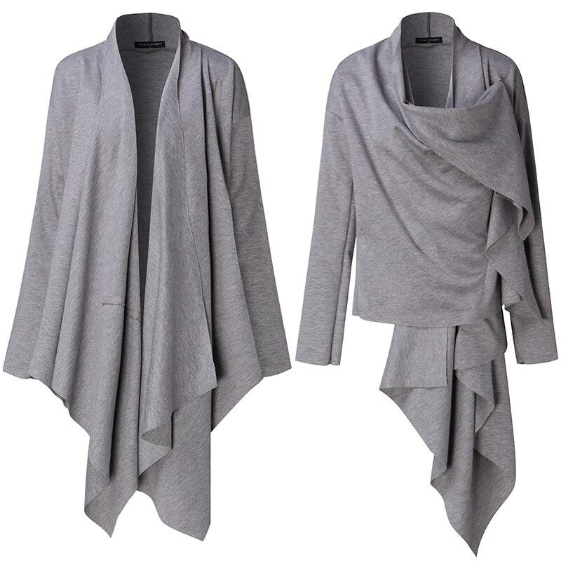 De La Oficina Del Collar Coat Elegante Capa Otoño grey Black Cardigan  Asimétrico Rodilla Outwear Cabo Moda Mujeres Cascada ... f033a190d312