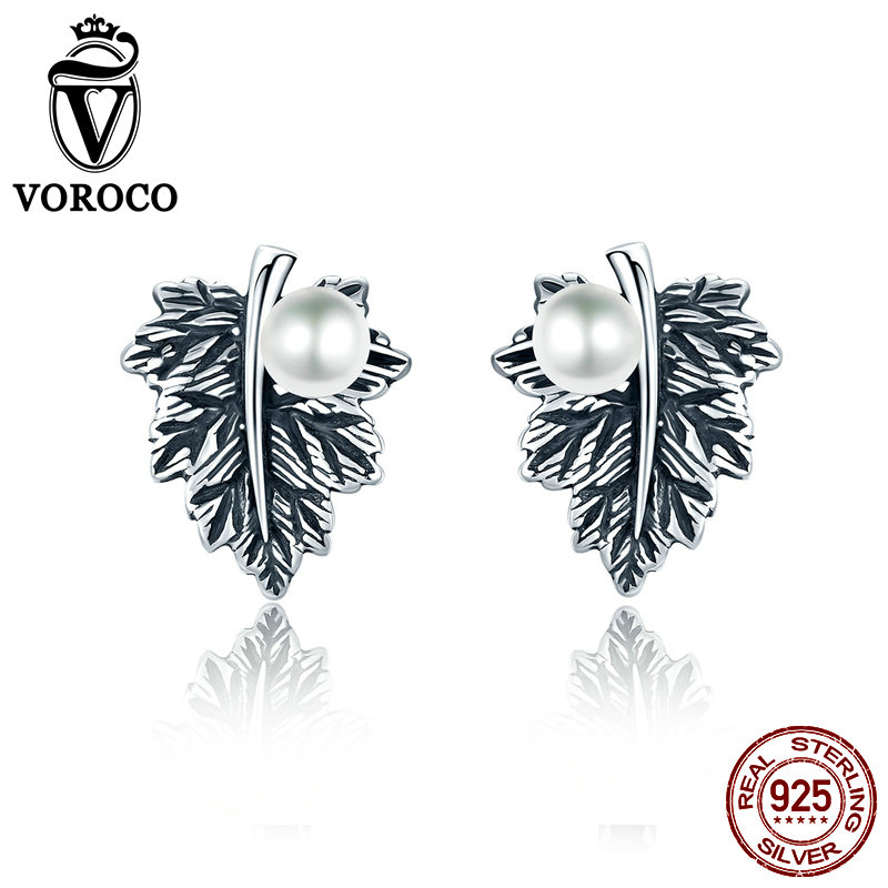 Voroco Classic 100% Real 925 Sterling Silver Leaves Maple Leaf Pearl Stud Earrings For Girls Nice Plant Jewellery Vse013