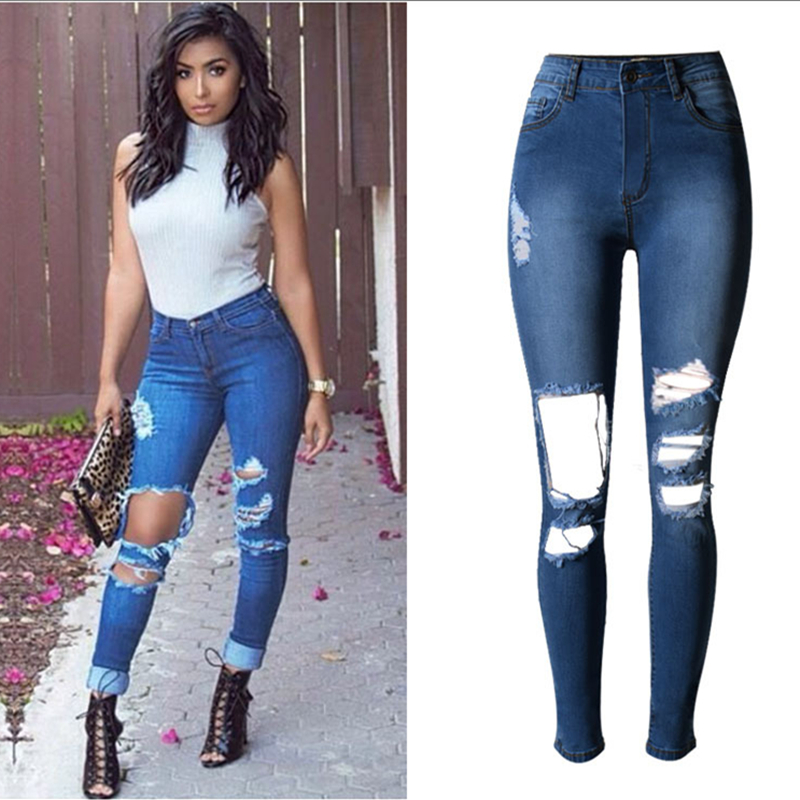buy fashion high waist pencil pants jeans. Black Bedroom Furniture Sets. Home Design Ideas