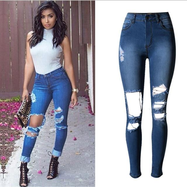 Aliexpress.com : Buy Fashion high waist Pencil Pants jeans woman ...