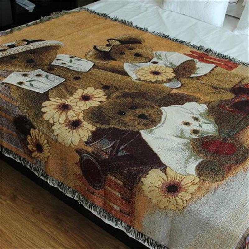 Retro Teddy Dogs and Bear Children Throw Blanket Home Decor Cotton Summer Air Conditioner Sofa Thread Blanket 130*160 cm on Sale