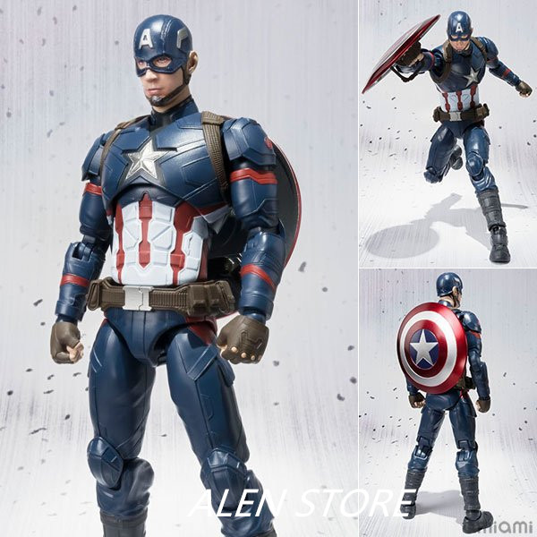 ALEN Captain America: Civil War SHF Figuarts SHFiguarts Avengers Captain America PVC Action Figure Collectible Model Toy ...