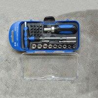 Pequeno Tamanho de Alta Qualidade 29 Pcs Unidade Conjunto de Soquete Catraca Chave Soquete Car Repair Tool Kit Mão de Aço Carbono