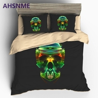 AHSNME Abstracto Colorido Cráneo juego de Cama de Lujo Estados Unidos Australia Europa Tamaño cover Set Super Suave 3D juegos de cama Impresas