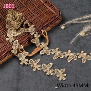 Image 2 - ASHION Золотой водорастворимый Вышитый цветочный кружевной тканевый мусульманский головной платок аксессуары для волос кружевная отделка
